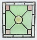 Vintage Stained Glass Window Pre 1970 11 x 12 Green Purple  Clear Glass