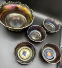 Antique Northwood Amethyst Carnival Glass Grape and Cable 5 pc Berry Bowl Set