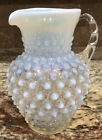 FENTON FRENCH OPALESCENT GLASS HOBNAIL PITCHER 5 3 4T