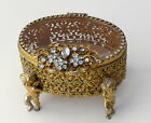 Vintage Rhinestone Flowers Cupid Gold Filigree Trinket Jewelry Box Beveled Glass