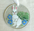 Peggy Karr Fused Glass Sun Catcher Ornament Easter Bunny Rabbit with Flowers