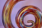 Spiral abstract art glass sculpture on stand multi colored murano style