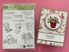 Stampin Up Pretty Kitty Spring Flowers Butterfly Yarn Rubber Stamp  CARD NEW