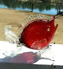 VINTAGE MURANO RED GLASS ANGEL FISH WITH GOLD FLECK