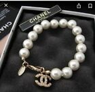 Chanel Coco Authentic Pearl Bracelet Metal Glass Pearls Resin  Strass Gold