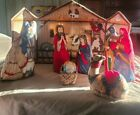 Fabric panel nativity scene Cranston cut and sewn figures missing sheep