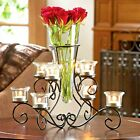 Vase Candle Stand Iron Scrollwork Centerpiece Shelf Desk Table Accent Decor
