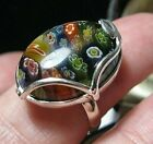 STERLING SILVER VINTAGE STYLE MILLEFIORI VENETIAN GLASS LARGE RING Size P 75