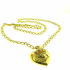 Juicy Couture Crystal Crown Heart Charm Necklace Gold Tone