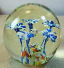 Vintage White Blue Flowers Controlled Bubble Swirl Glass Paperweight 3 Diameter