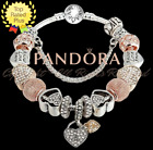 Authentic Pandora Bracelet Silver Gold Heart with Love Heart European Charms New