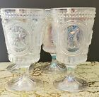 4x Opal Irridescent EASTER Bunny Rabbit Hobnail Drinking Glasses Goblets Glass