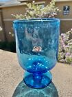 Vintage Rainbow Glass Company Blue Bullicante Controlled Bubbles Vase Candy Dish