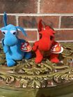 TY Red & Gold Dragon And Light Blue Beanie Baby