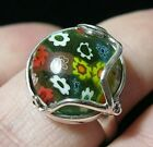 STERLING SILVER VINTAGE STYLE MILLEFIORI FLOWERS VENETIAN GLASS RING Size Q 8