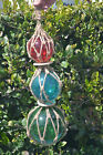 RED BLUE GREEN TRIO REPRODUCTION GLASS FLOAT FISHING NET BALL TRIO 5 6 8