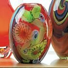 Red Floral Flow Glass Vase Color Swirls HandCrafted Home Accent Piece 925 Tall