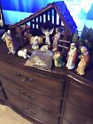 13 PC CHRISTMAS HOLIDAY NATIVITY SET HAND PAINTED PORCELAIN SET BOX TALLEST 55