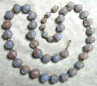 VINTAGE CLASSSIC LIGHT BLUE AVENTURINE MURANO GLASS WITH COPPER FOIL NECKLACE