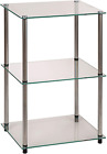 Convenience Concepts Designs2Go Classic Glass 3 Tier Lamp End Table Glass