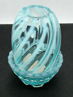 Fenton Opalescent Glass Candle Holder Fairy Light Blue Swirl Rare