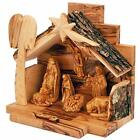 Olive Wood Nativity Set with Figurines Bark Roof Stable  Made in Bethlehem