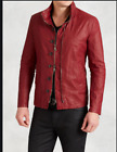 John Varvatos Mens Red Resin Coated Linen Jacket With Zip Out Hood Size 48