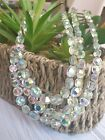 Vintage EXQUISITE 3 Tier Strand FACETED GLASS NECKLACE Aurora Borealis SIGNED