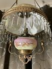 vintage handpainted copper brass restored hanging oil lamp floral glass shade