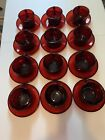 Vintage Ruby Red Glass Arcoroc France Teacup and Saucer Set of 12 24pcs