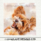 Dog Maltipoo Watercolor Fabric Craft Panels in 100 Cotton or Polyester