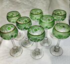 Incredible set 8 green to clear cameo Baccarat glass St Louis cut glass stems