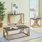 Coffee Console End Table Rose Gold Tempered Glass Furniture for Living Room Home
