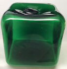 Vintage Mid Century Modern Blenko Handblown Emerald Green Glass Cube 6 Square