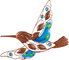Glass Metal Hummingbird Wall Decor Outdoor Hanging Art Patio Garden Fence Porch