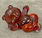 FENTON ART GLASS RUBY RED RELAXING RECLINING BEAR FIGURINE 5233 Non Decorated