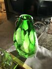 Stunning Large Art Glass Vase Hand Blown Green With White And Pink Candy