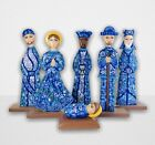 Unique Cedar W Blue Nativity Set Handcrafted In Nicaragua 12 Tall Hand Painted