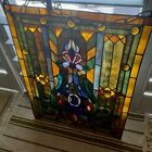 Tiffany Style Handcrafted Stained Glass Window Panel Ready to Hang GORGEOUS