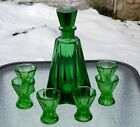 Czech Bohemian Moser Green Decanter 6 Shot Glasses Antique Art Glass