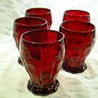 Vintage Fenton Glass Ruby Red 4 Tumblers Dot and Panel 4