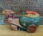 Primitive Rabbit Easter Bunny pulling Cart carrot Chocolate Mold Inspired Figure