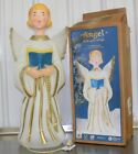 Christmas Angel Gold Wings Blow Mold Lighted Nativity Yard Decor With Box GF