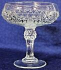 Pedestal Bowl DIAMOND POINT INDIANA GLASS Crystal Clear Compote Big Goblet 725