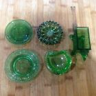 Lot of 5 Green Glass Commemorative Plates and Trinket Trays