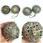 BEAUTIFUL ANTIQUE SILVER SPACE BALL UNIQUE CARVED WITH CHAIN TIBETAN SILVER BALL