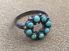 LK OLD NATIVE AMERICAN SIGNED TURQUOISE WREATH SIZE 6 STERLING SILVER RING