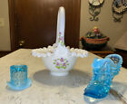 Vintage FENTON Lot of 3 Top Hat Puss In Boot  Hand Painted  Signed Basket