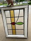 Antique Leaded Stained Glass Window In Frame