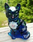 FENTON GLASS BLUE CAT HAND PAINTED WHITE FLOWERS